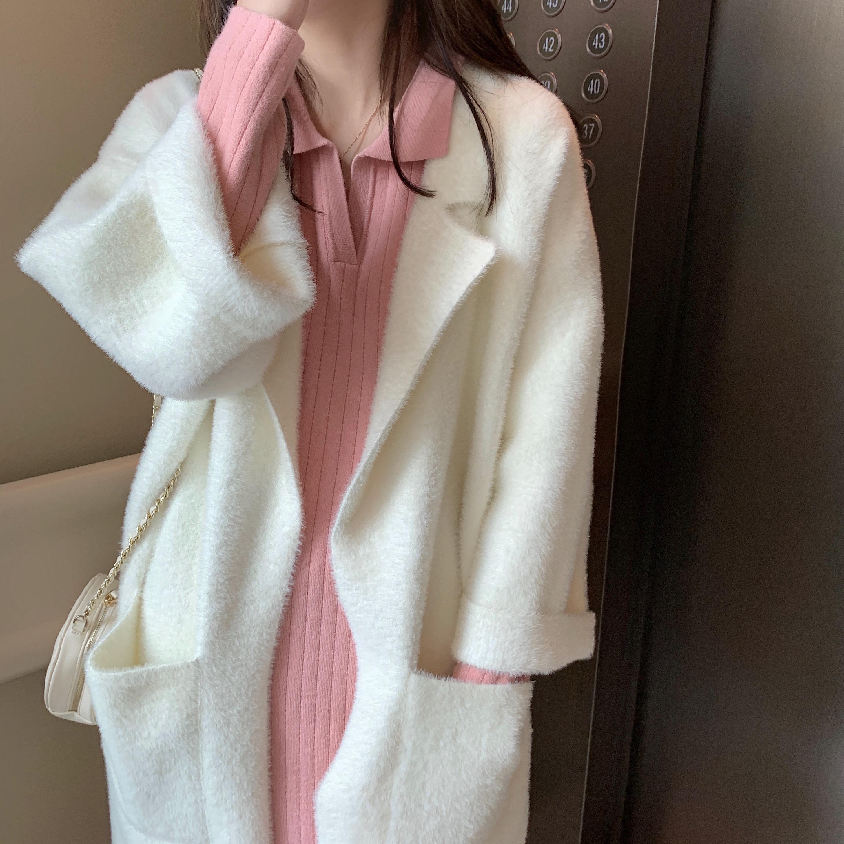 秋冬季慵懒风显瘦纯色水貂毛外套 2019 大衣女中长款 三色可选