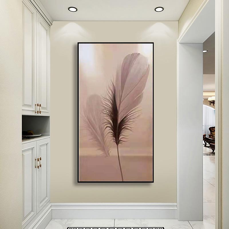 入戶玄關裝飾畫現代簡約過道走廊盡頭掛畫粉紅色羽毛純手繪油畫