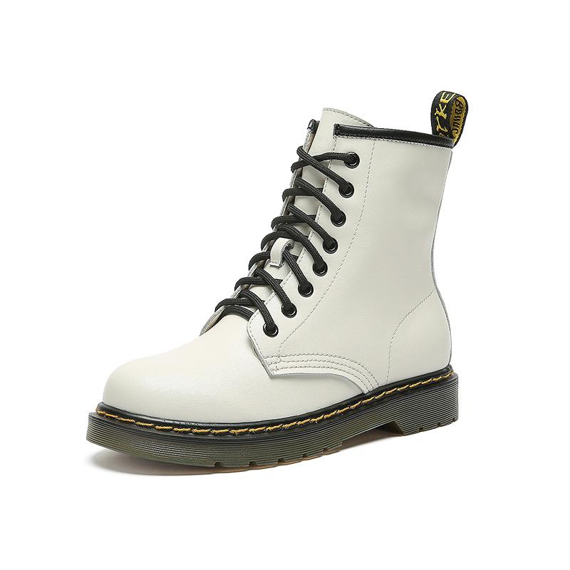冬季新款秋鞋真皮中筒靴女百搭英伦风女靴 2019 珂卡芙八孔马丁靴女