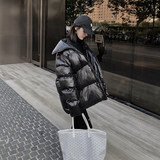 Black cotton jacket female ins new patent leather shiny down cotton bread jacket female Korean loose oversize cotton jacket