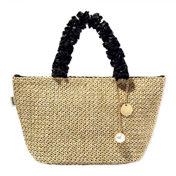 日本雜誌附錄款荷葉邊手拎編織托特包飯盒包便當包 手拎包 無掛件