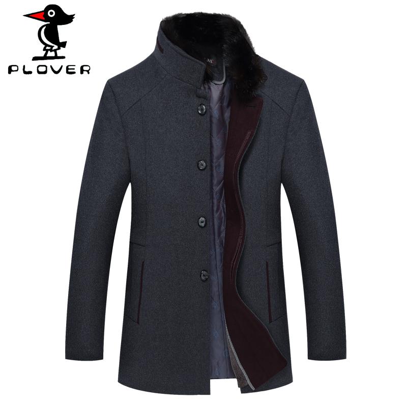 啄木鸟中年人冬季毛呢大衣男土加绒加厚羊毛呢子中老年爸爸装外套