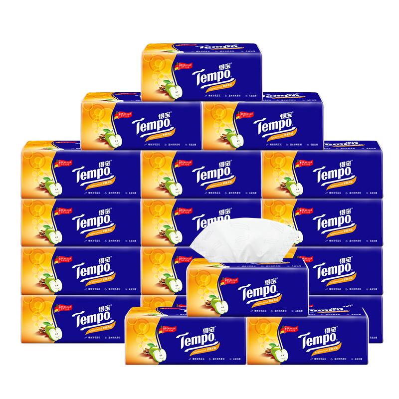 【得寶經典香味】Tempo得寶蘋果木軟抽紙巾餐巾紙4層加厚90抽16包