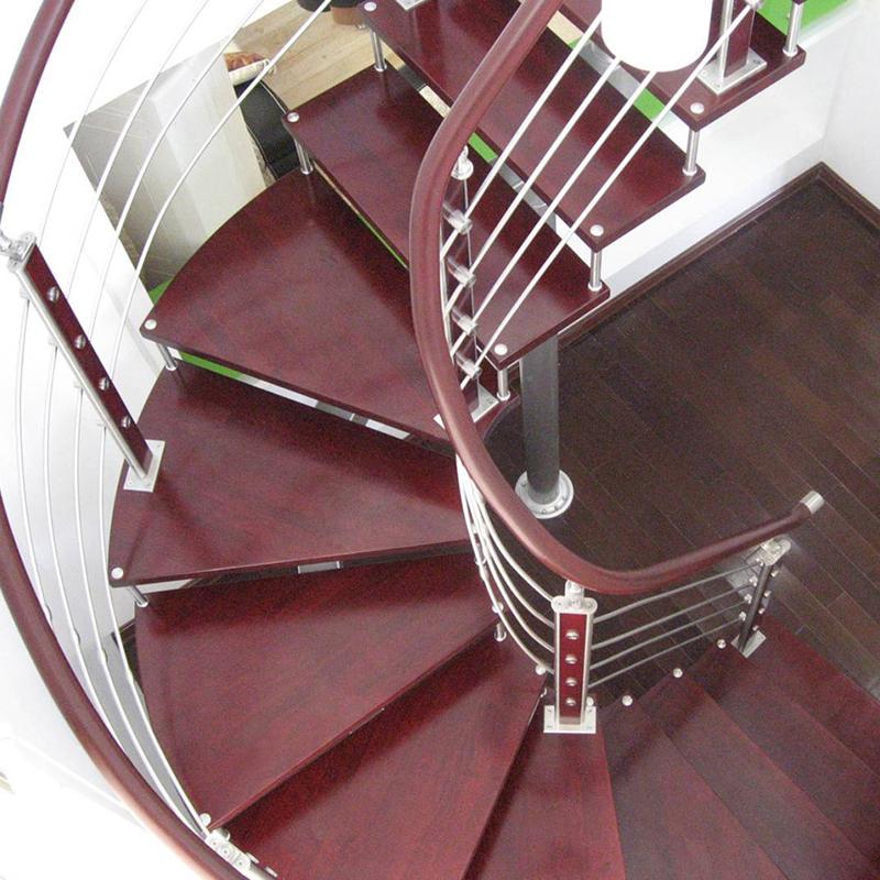 康辉实木旋转楼梯护栏 室内家用钢木楼梯扶手 复式别墅楼梯踏步