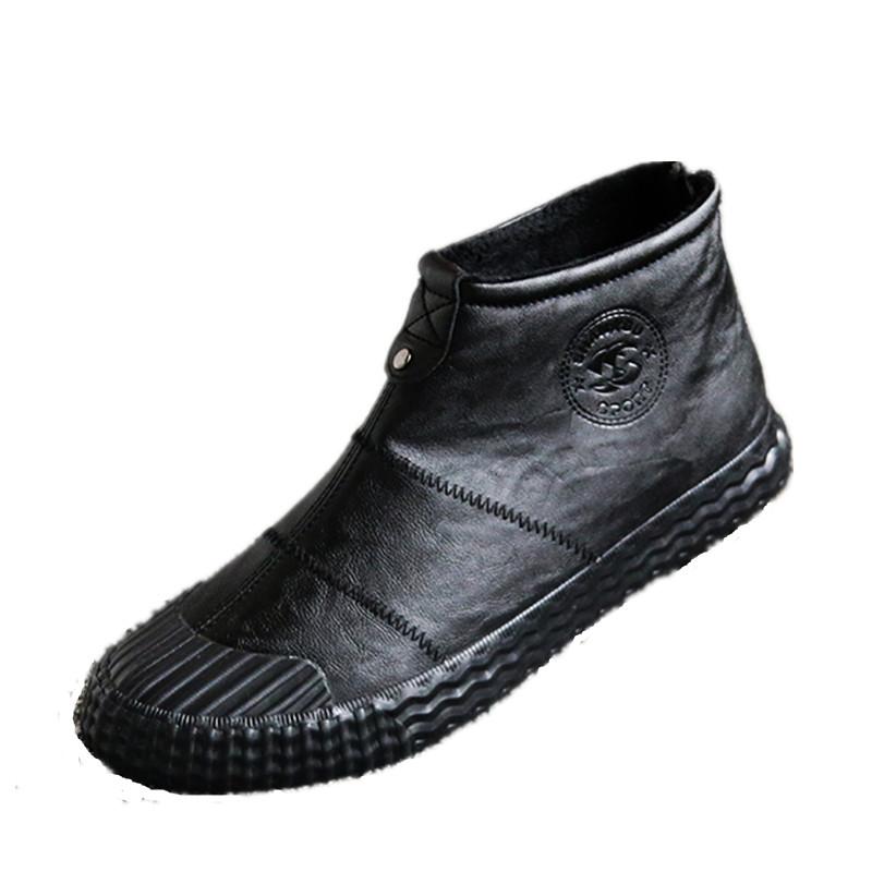 冬季雪地靴男中帮保暖加绒棉靴户外拉链棉鞋男防水防滑皮面靴子男