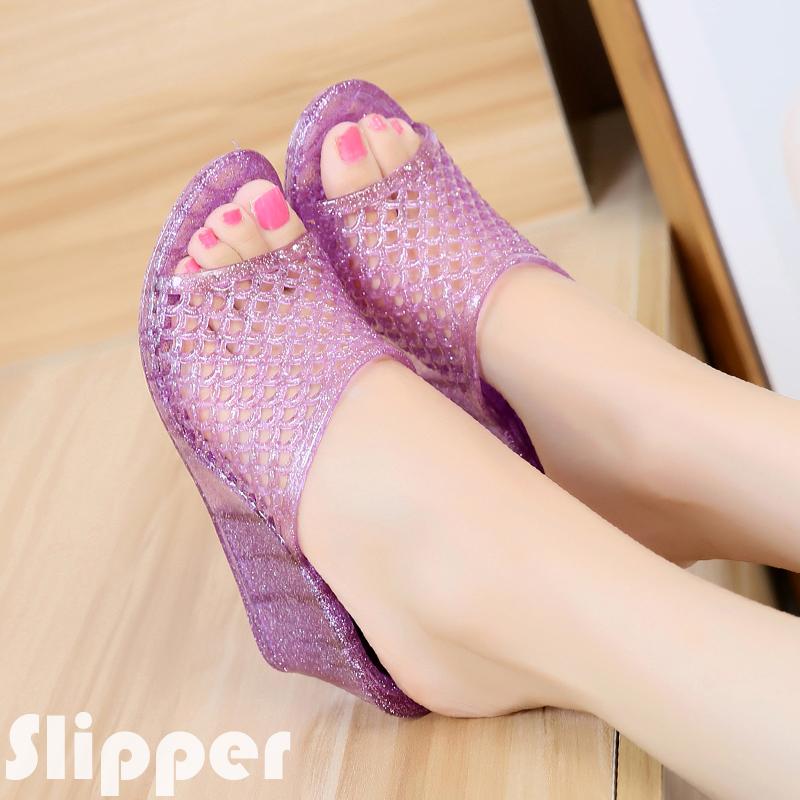 夏季新居家款時尚女鞋休閒女拖鞋鏤空潮流水晶網狀坡跟涼拖鞋外穿