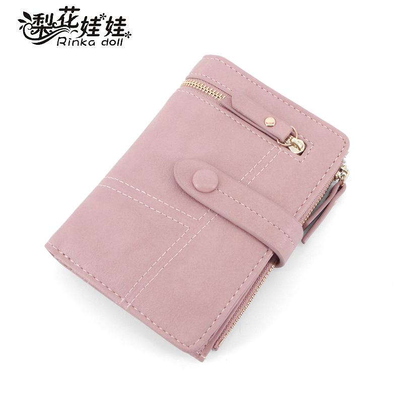 新款韩版学生折叠多功能手拿包小钱夹 2018 梨花娃娃女士钱包女短款