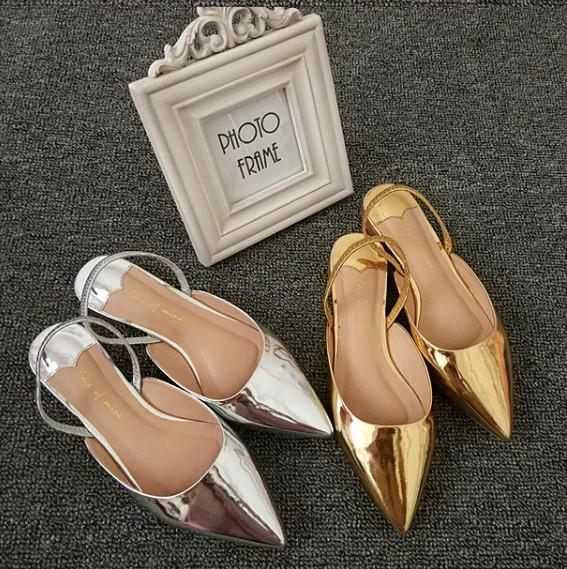 三十而已江疏影同款鞋春夏新款镂空平跟单鞋女平底尖头凉拖鞋金色