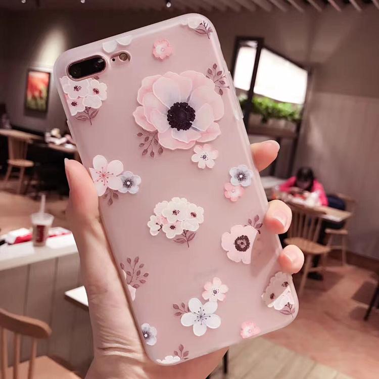 iphone7plus手机壳文艺硅胶软壳i8防摔苹果6s浮雕女款清新保护套X
