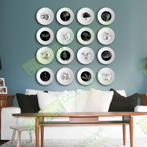 Buy 8 Inch Nordic Style Dining Kitchen Living Room Black And White Ceramic Plate Decorative Hanging Wall In Cheap Price On Alibaba Com