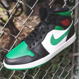 Nike Air Jordan 1 Mid 中帮黑绿脚趾AJ1男子篮球鞋 554724-067