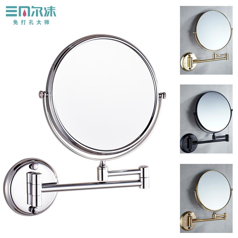 免打孔化妆镜浴室壁挂墙贴酒店双面美容镜伸缩折叠卫生间放大镜子