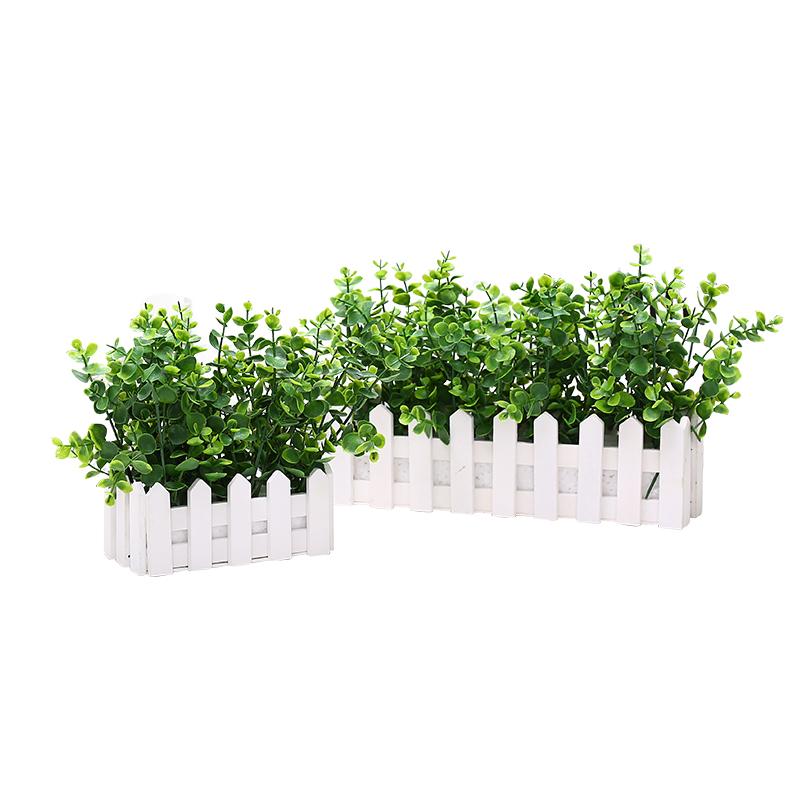 木栅栏套装仿真花绿植物客厅摆设窗台装饰室内拍摄假花盆栽小摆件
