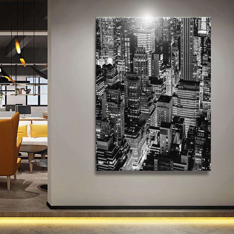 办公空间金属铝版挂画 大幅装饰画 样板房现代简洁挂画  黑白城市