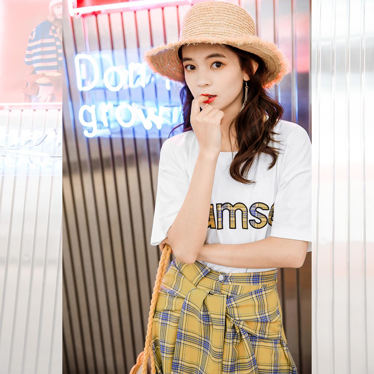 衣品天成2018新款上衣t恤搭配格子短裙套装裙女半身裙子两件套夏