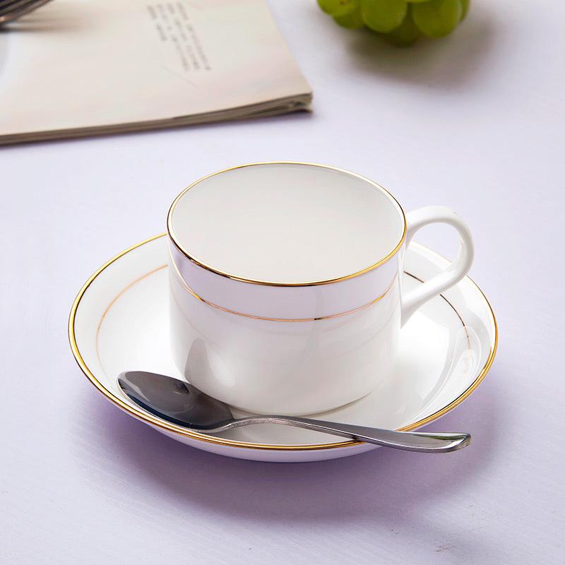 景德鎮咖啡杯套裝杯子陶瓷骨瓷金邊純白歐式杯創意配送勺子