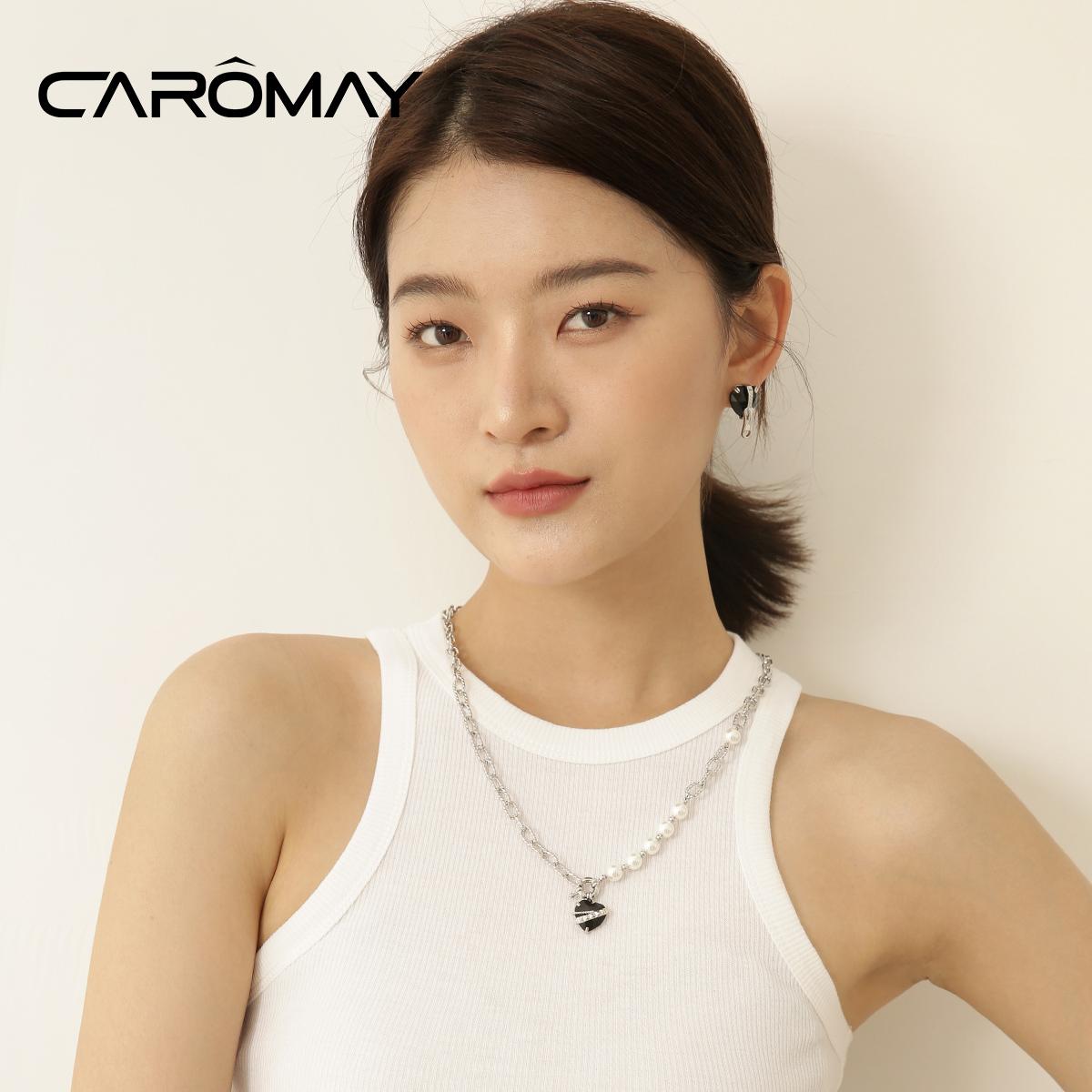 设计师款摇滚宝石爱心拼接项链女欧美时尚高级感轻奢颈链 CAROMAY