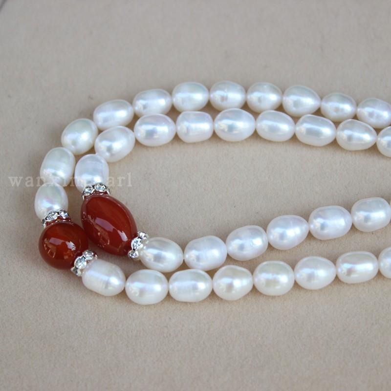 母亲节送妈妈 天然淡水珍珠红色玛瑙项链  珍珠项链包邮 珍珠颈饰