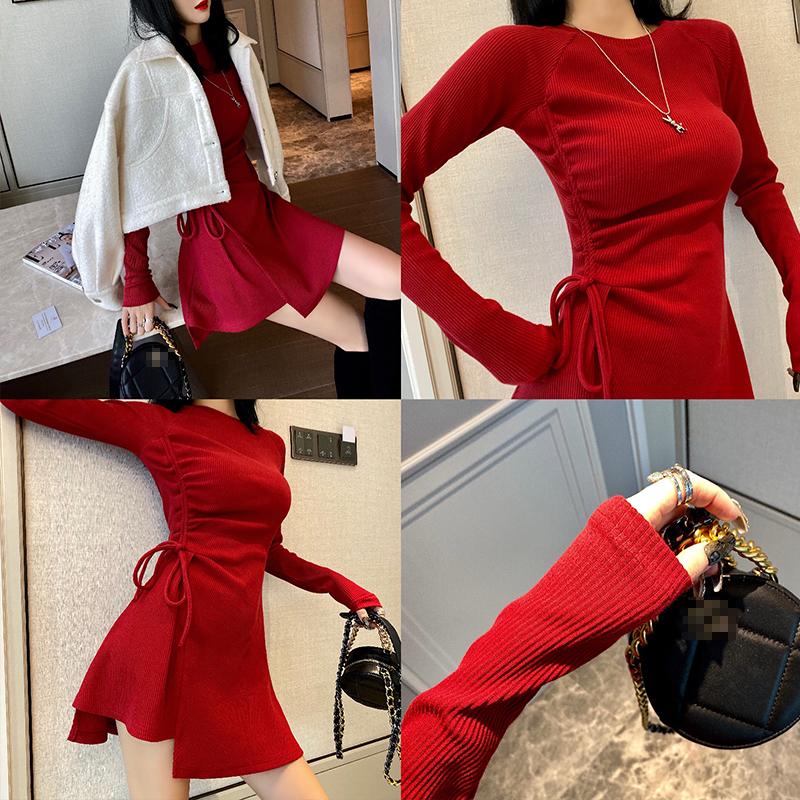 禾可可性感收腰抽绳红色连衣裙2020新款秋冬季不规则长袖裙子女