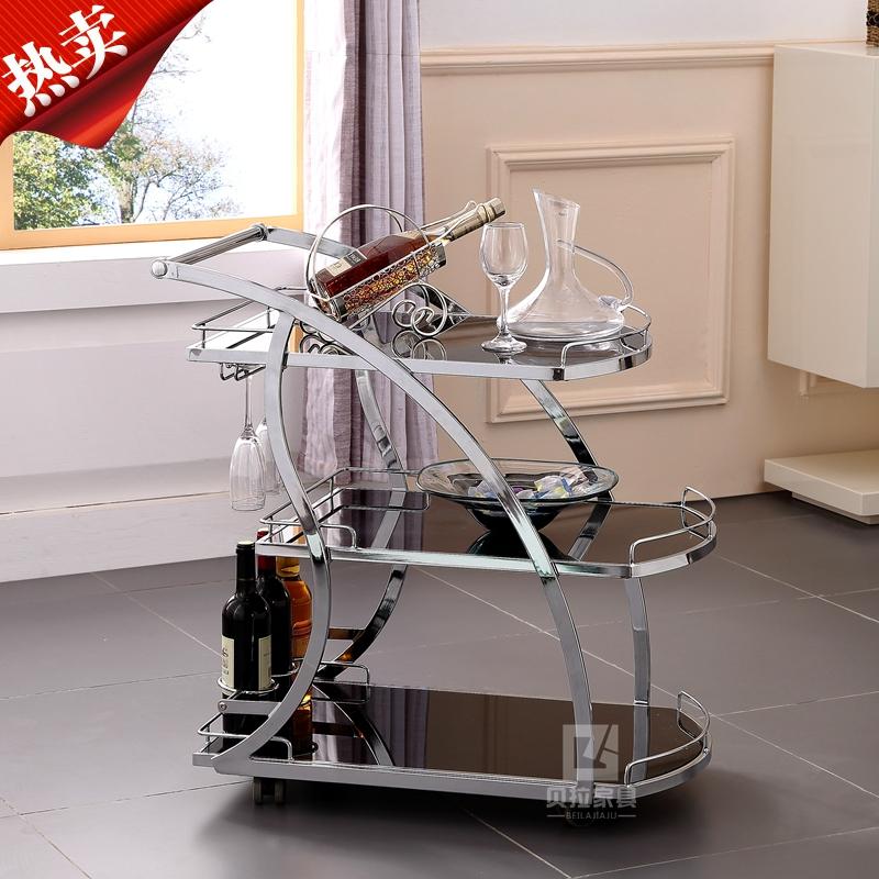 茶水推车不锈钢移动玻璃餐车酒店推车三层手推车酒水车商用小推车