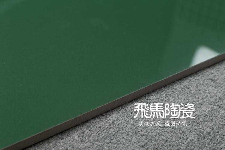 深绿色全抛釉瓷砖600x600亮光墨绿色超市 幼儿园 游乐场防滑地砖