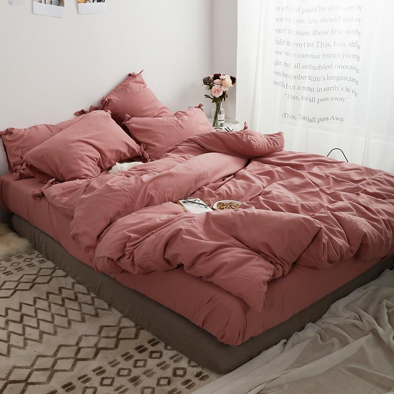 床品套件 1.21.51.8m 简约四件套磨毛被套床单床笠夏季网红北欧 ins