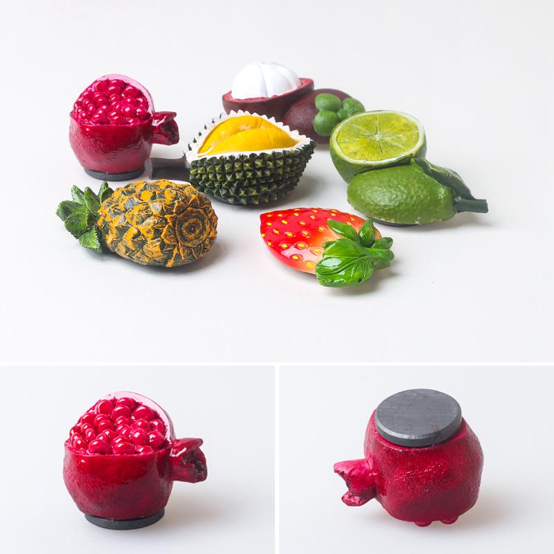 家居装饰磁姓贴 立体草莓菠萝榴莲山竹磁贴 3D 仿真食物水果箱贴
