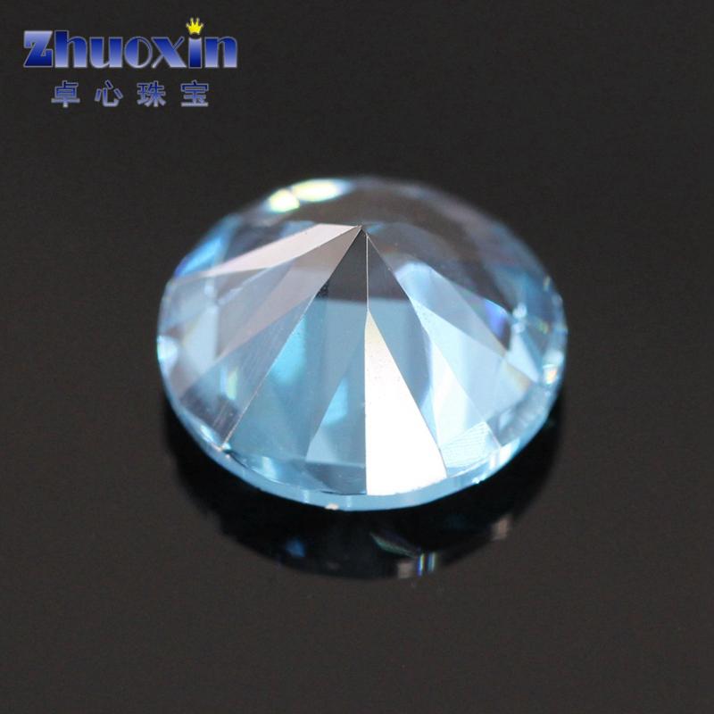 浅蓝色119#尖晶蓝宝石裸石原石 119号人造圆形尖底饰品4.