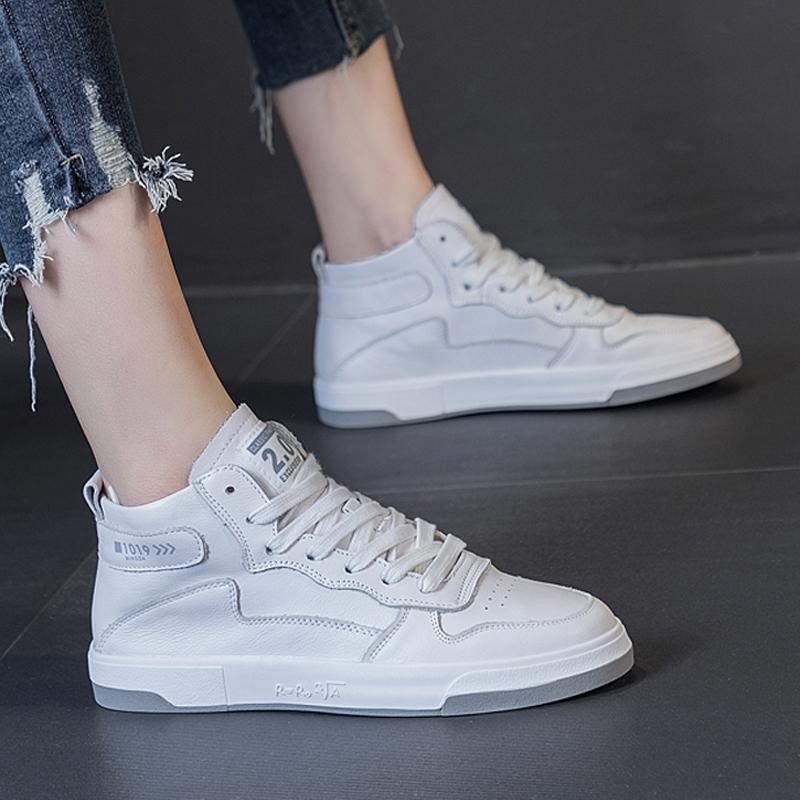 软皮软底高帮鞋小白鞋女基础百搭显脚小透气牛皮板鞋2021春款女鞋