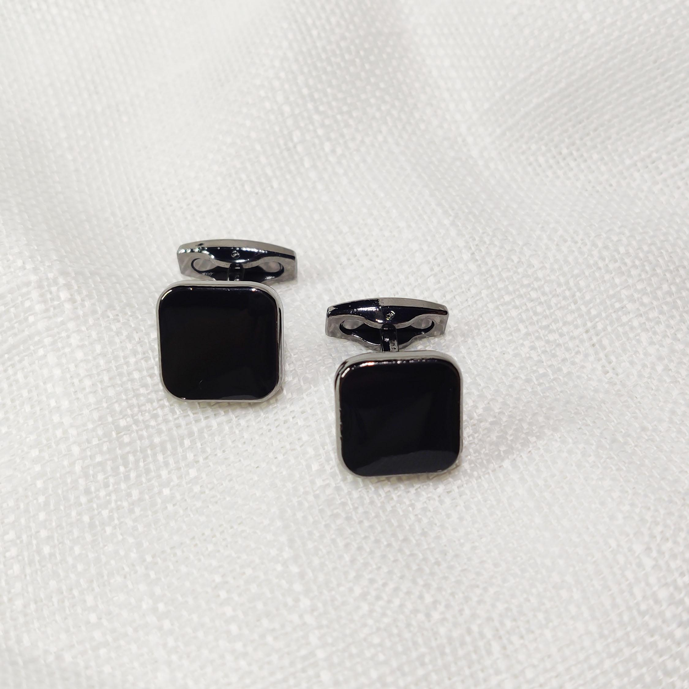 法式衬衫袖扣男士轻奢方形黑色商务休闲袖口钉衬衣扣配饰礼物