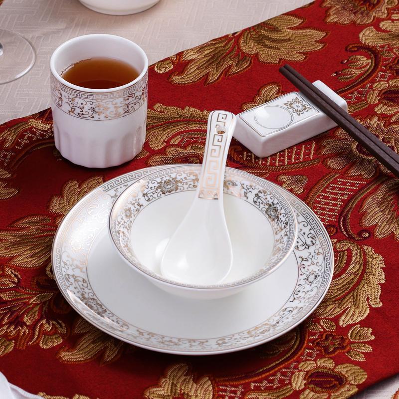 中式豪華酒店陶瓷用品擺臺餐具套裝陶瓷單人金邊盤子碗骨碟四件套
