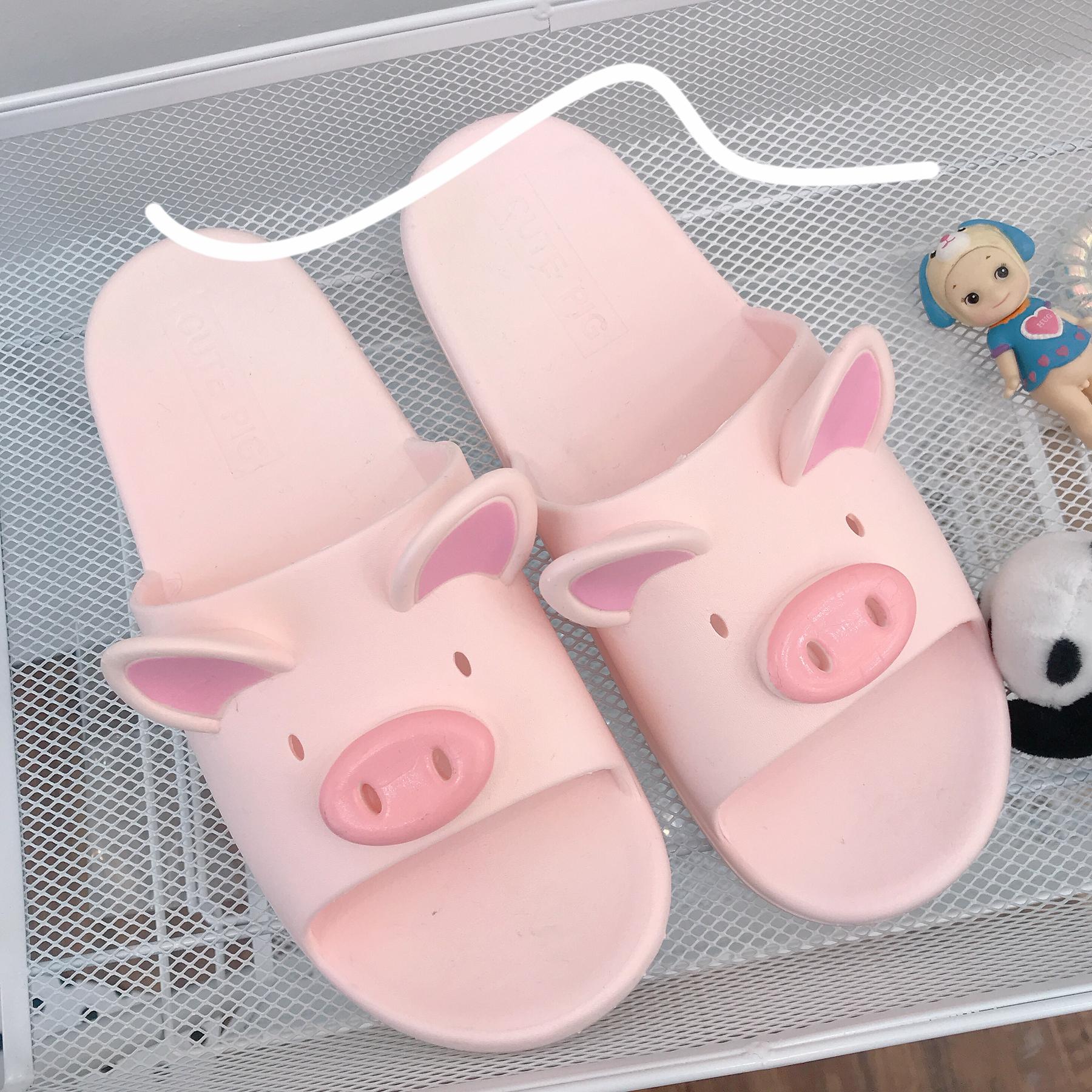 韩风 可爱粉色小猪拖鞋居家少女夏室内外穿防滑橡胶洗澡凉拖鞋  ins