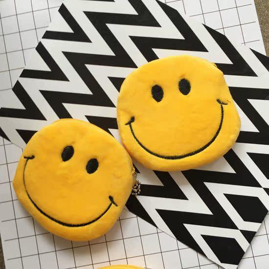日本原宿zipper童趣经典可爱黄色小笑脸零钱硬币包 可爱毛绒挂件