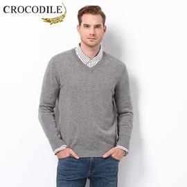 鳄鱼恤山羊绒衫男100%纯羊绒V领秋冬中青年纯色修身针织毛衣套头