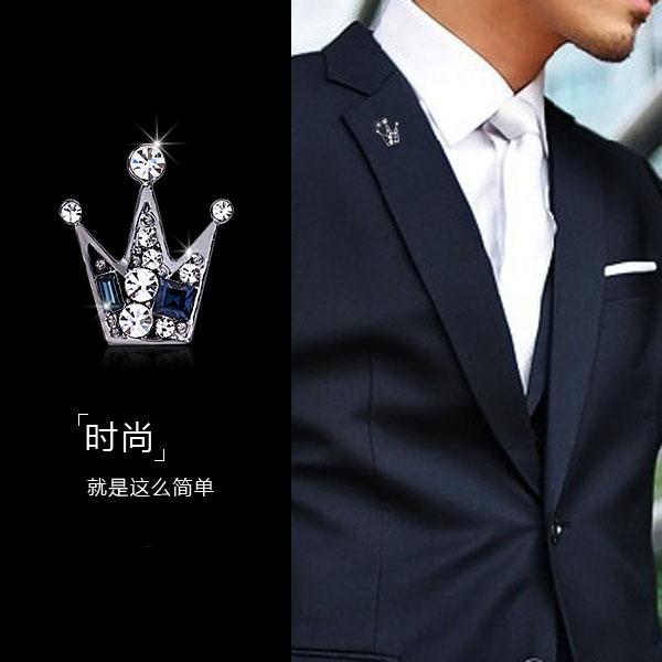 日韩版时尚高档复古十字架男士胸针 韩国西服外套胸花女链条徽章