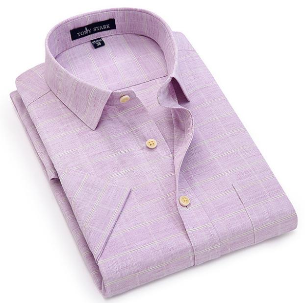 夏季商务休闲半袖棉麻衬衫中老年爸爸长袖免烫冰丝宽松短袖衬衣男