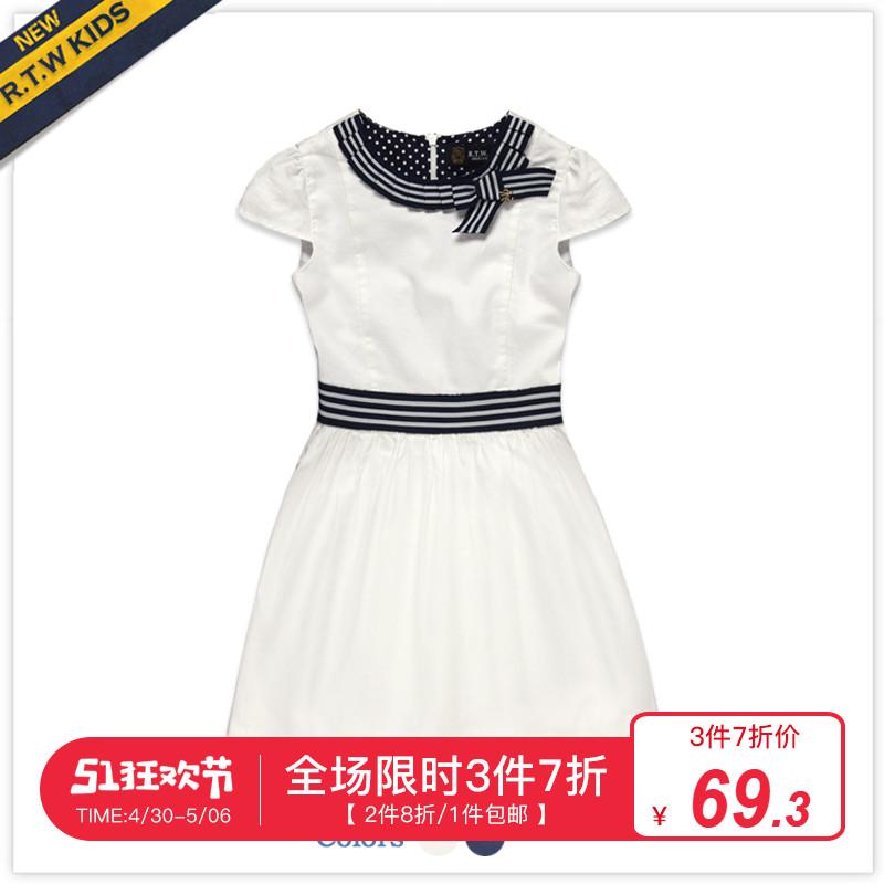 RTW2019夏裝新款女童裝全棉蝴蝶結貝殼袖連衣裙RKGL62186