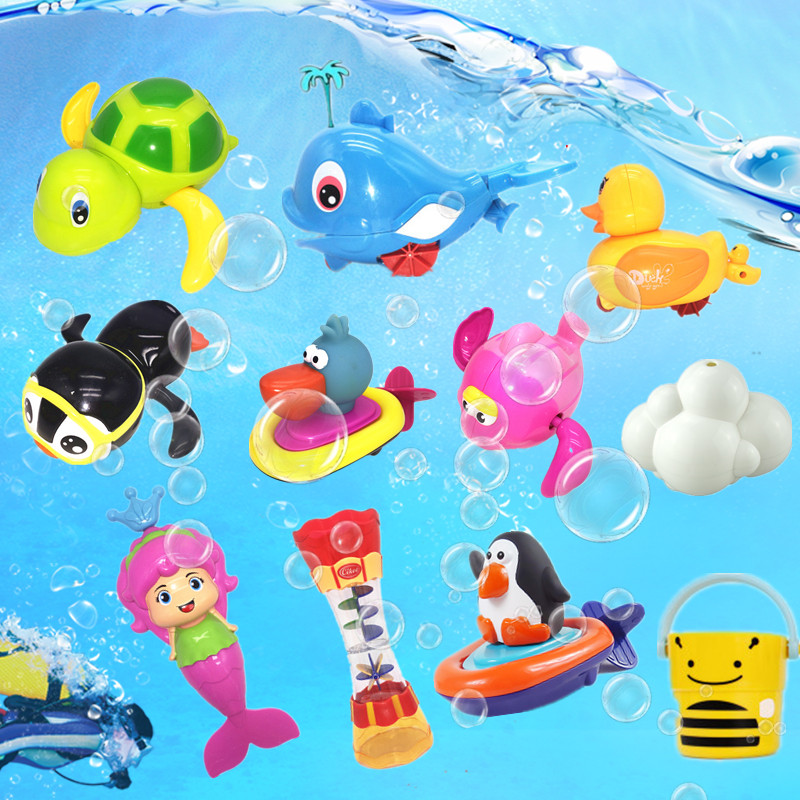 抖音同款寶寶洗澡游泳小烏龜上鍊玩具小動物戲水游泳海豚發條玩具