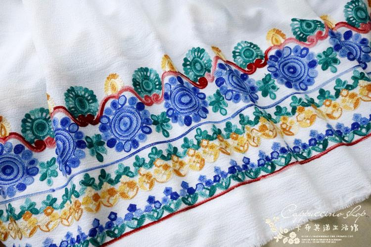 新款法式多臂 双边立体绣花布 多色民族彩色风裙边绣女装时装面料