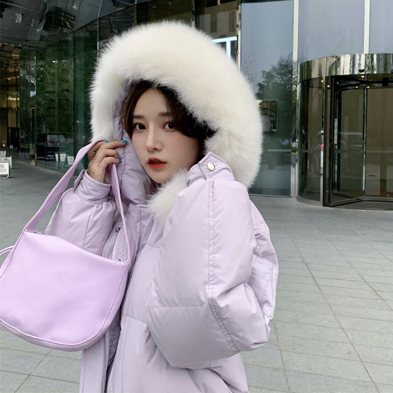 年新款冬季加厚超长过膝大毛领白鸭绒面包服潮 2020 羽绒服女中长款