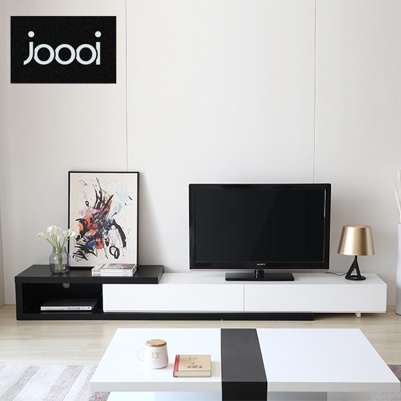 北欧电视柜茶几组合背景墙套装简约现代客厅家具地柜伸缩电视机柜