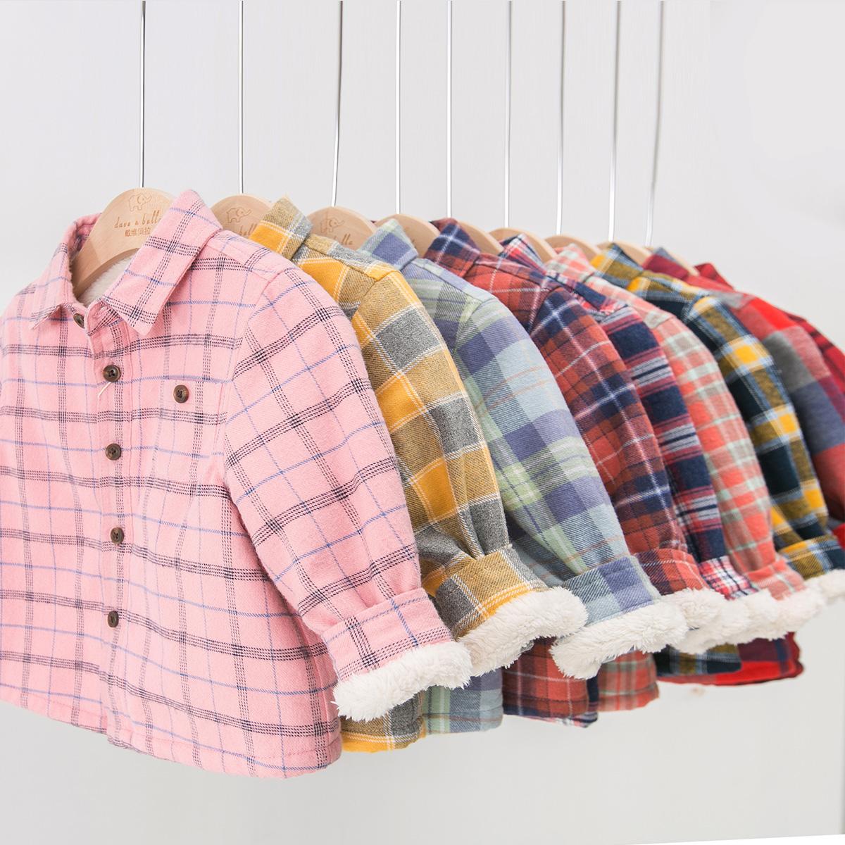 davebella戴维贝拉冬季男童衬衫 宝宝加绒格子翻领衬衫DB3842