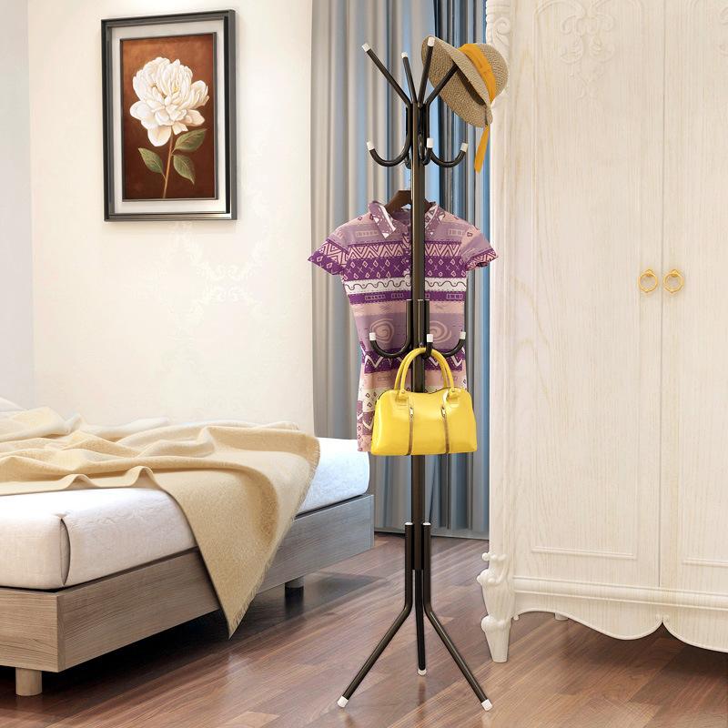 簡約現代衣帽架掛鉤落地豎式直立鐵藝金屬組裝家用房間掛衣服架子