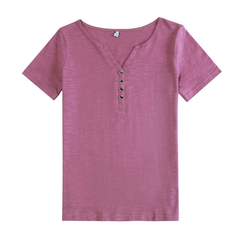 夏季新款显瘦大码修身v领露锁骨短袖时尚透气竹节棉纯棉t恤女上衣主图