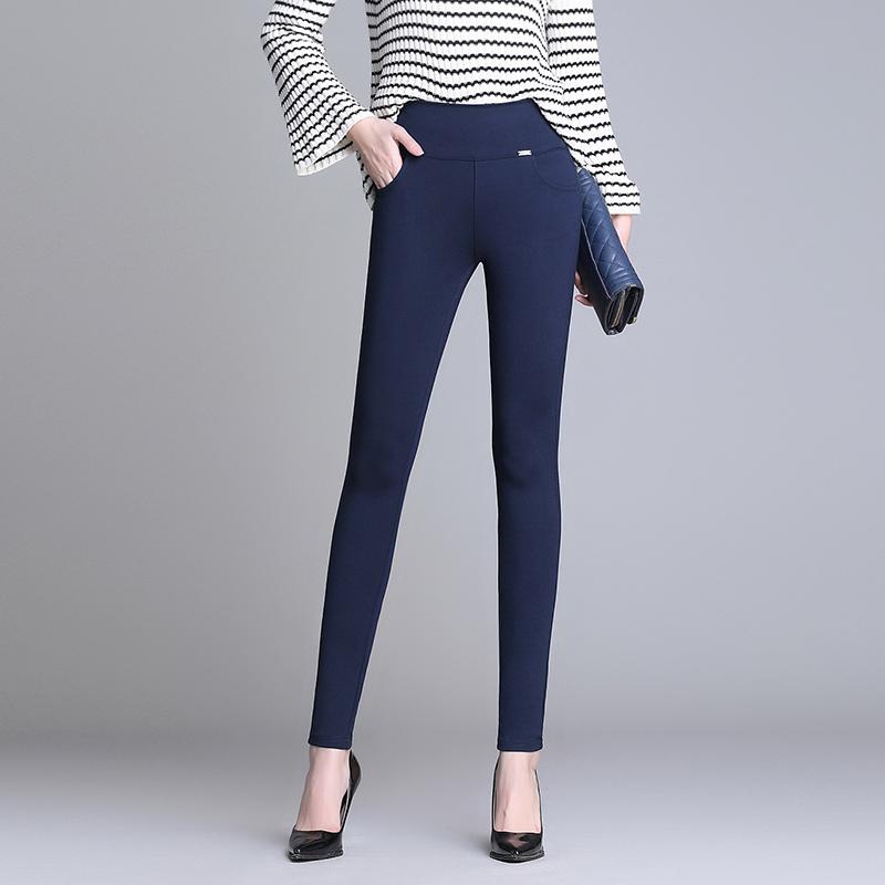 新款百搭大码女装裤子胖mm弹力双裤腰显瘦外穿打底休闲铅笔裤长裤
