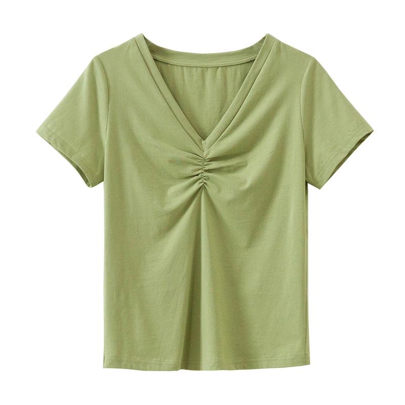 夏季新款修身显瘦气质短袖提胸V领褶皱大码莫代尔纯棉T恤衫女上衣主图