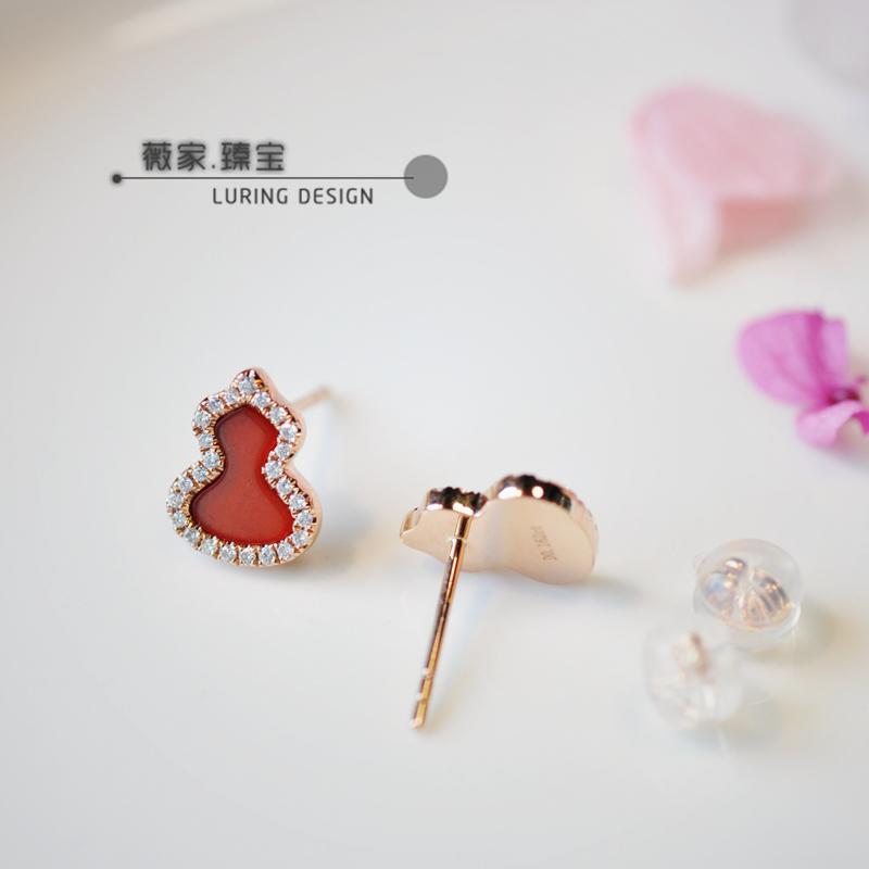 群镶钻石小耳钉耳饰 玫瑰金 黄金 18K 天然红玉髓 设计 QL 宝葫芦