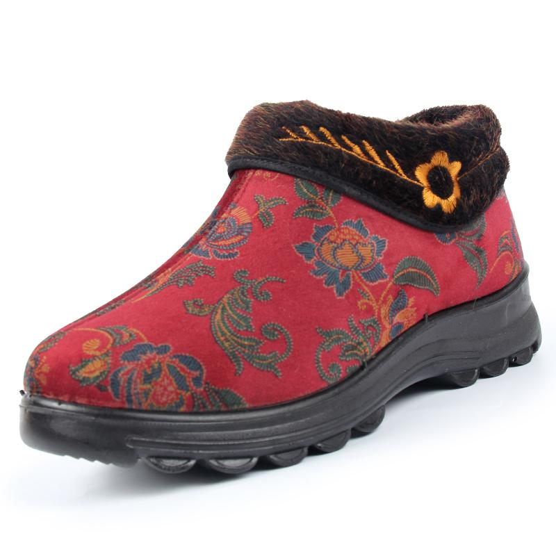 婆婆鞋软底防滑老人鞋女保暖奶奶鞋红色棉鞋女冬老年人鞋子老太太