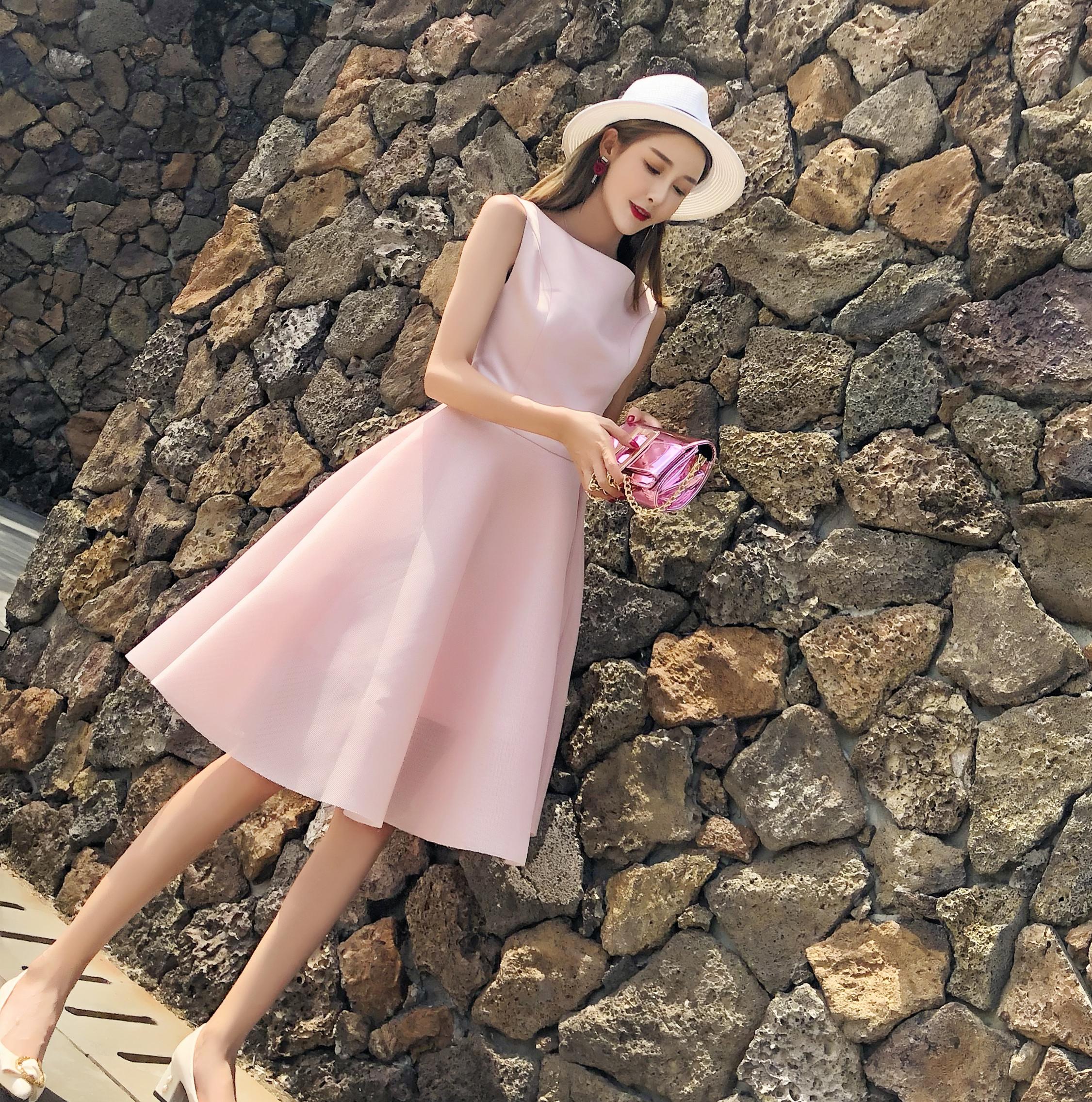 新款女名媛露背蝴蝶结宴会派对连衣裙粉色洋装小礼服伴娘礼服