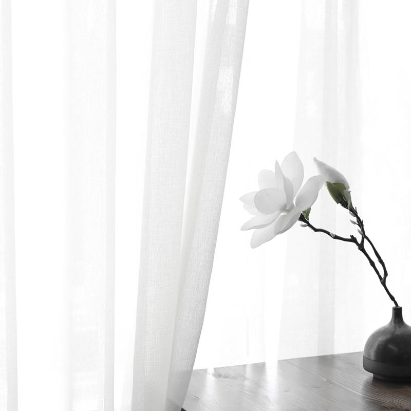 韓式簡約現代北歐日式純色白窗紗窗簾定製定做臥室客廳陽臺飄窗